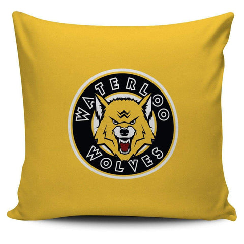 "Image of SportsChest STORE Waterloo Wolves Yellow Pillow Waterloo Wolves Square Pillow Covers 42 cm (17.7"") x 42 cm (17.7"")"
