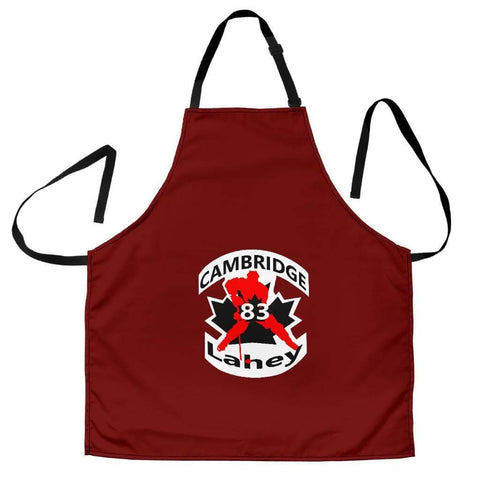 Image of SportsChest STORE Women's Apron - #83 Lahey Cambridge Hockey Women's Red Apron / Universal Fit #83 Lahey Cambridge Hockey Women's Black Apron