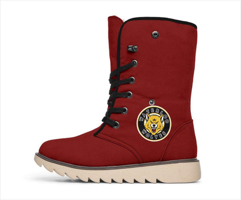 Image of SportsChest STORE Women's Polar Boots - Waterloo Wolves Polar Boots Red / US4.5 (EU35) Waterloo Wolves Polar Boots White