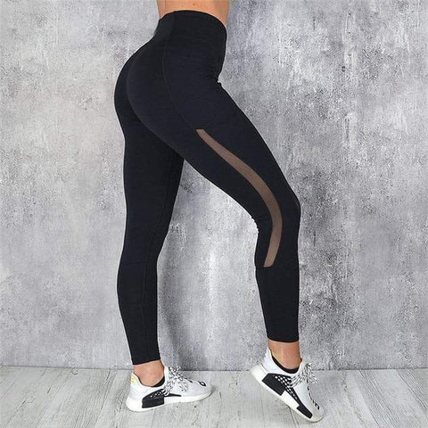Image of SportsChest Black Women's Fitness Leggings With High Waist & Pocket