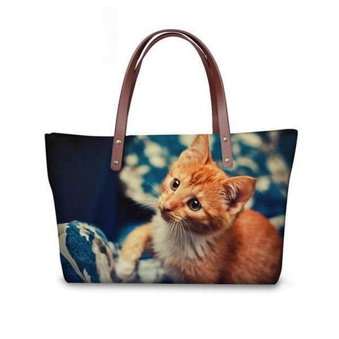 SportsChest W3176 / 49x29x39x11.5cm 3D Cute Cat Printing Women Handbags