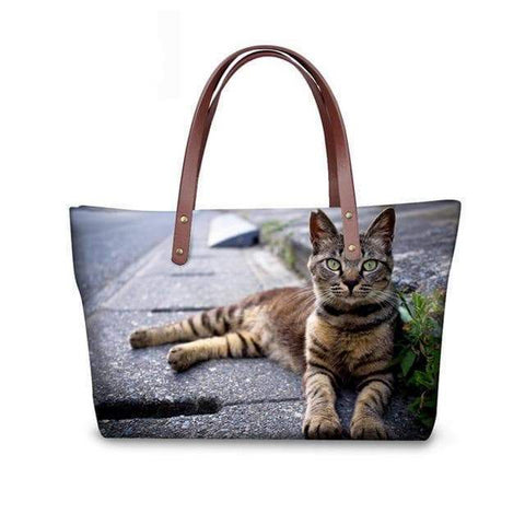 SportsChest W3179 / 49x29x39x11.5cm 3D Cute Cat Printing Women Handbags