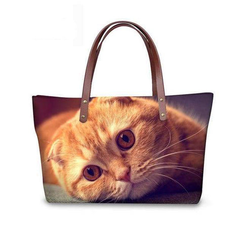 SportsChest W3180 / 49x29x39x11.5cm 3D Cute Cat Printing Women Handbags