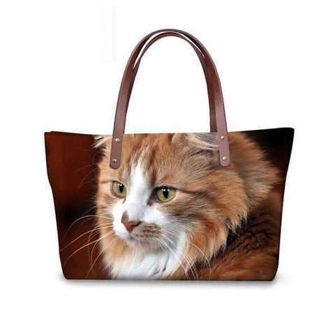 SportsChest W3181 / 49x29x39x11.5cm 3D Cute Cat Printing Women Handbags
