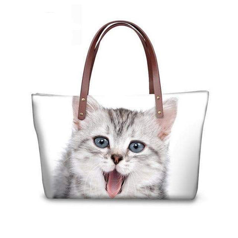 SportsChest W3182 / 49x29x39x11.5cm 3D Cute Cat Printing Women Handbags