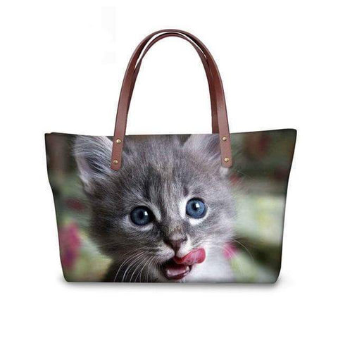 SportsChest W3185 / 49x29x39x11.5cm 3D Cute Cat Printing Women Handbags
