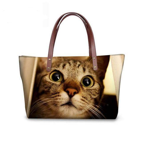 SportsChest W3187 / 49x29x39x11.5cm 3D Cute Cat Printing Women Handbags