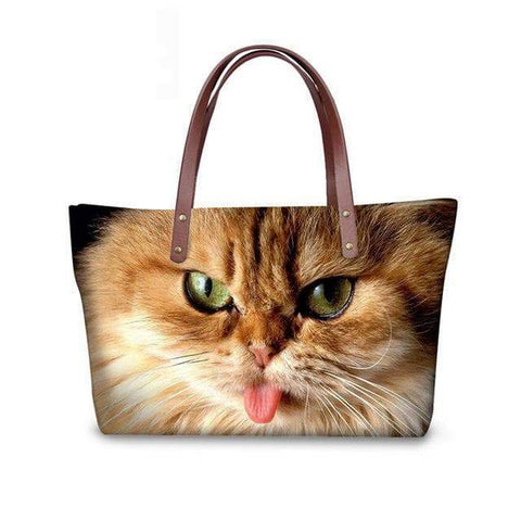 SportsChest W3189 / 49x29x39x11.5cm 3D Cute Cat Printing Women Handbags