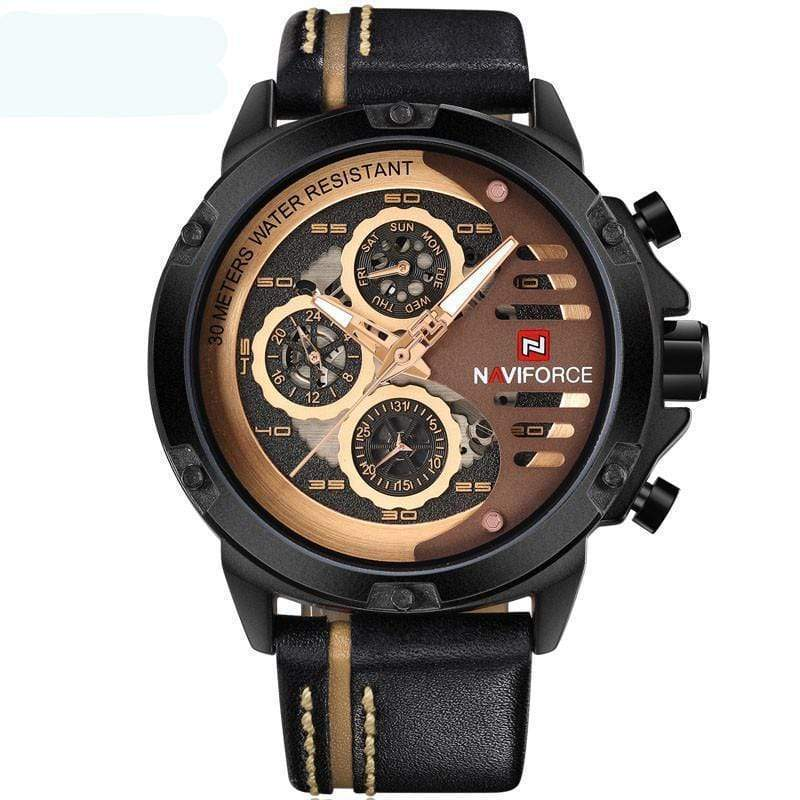 SportsChest Watch black brown Mens Luxury Water Resistant Watch