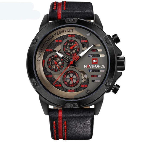 Image of SportsChest Watch black red Mens Luxury Water Resistant Watch