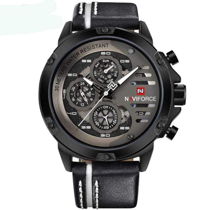 SportsChest Watch black white Mens Luxury Water Resistant Watch