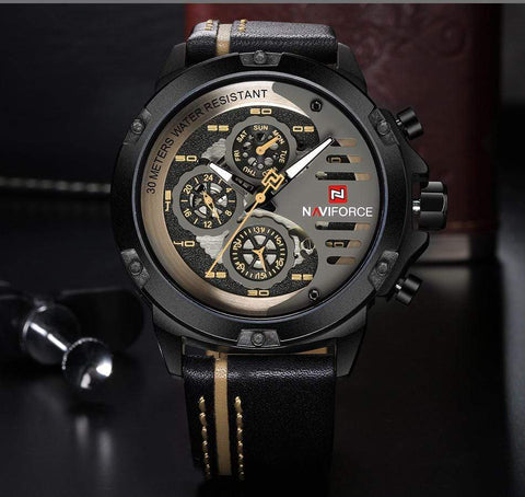 Image of SportsChest Watch black white Mens Luxury Water Resistant Watch