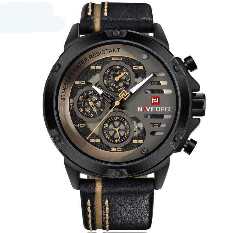 SportsChest Watch black yellow Mens Luxury Water Resistant Watch