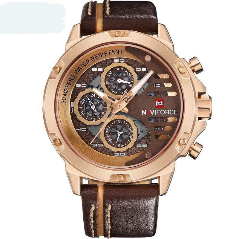 SportsChest Watch gold brown Mens Luxury Water Resistant Watch
