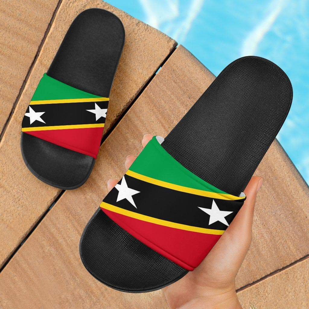 SportsChest Women's Slide Sandals - Black - Saint Kitts and Nevis Slide Sandals / US5 (EU36) Saint Kitts and Nevis Slide Sandals