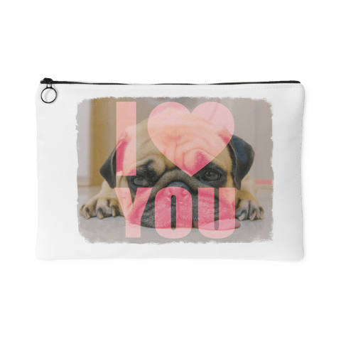 teelaunch Accessory Pouches Large Accessory Pouch Pug Loves You Pouch