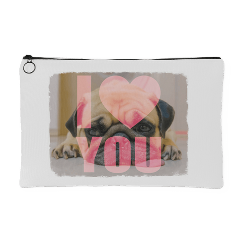 teelaunch Accessory Pouches Small Accessory Pouch Pug Loves You Pouch