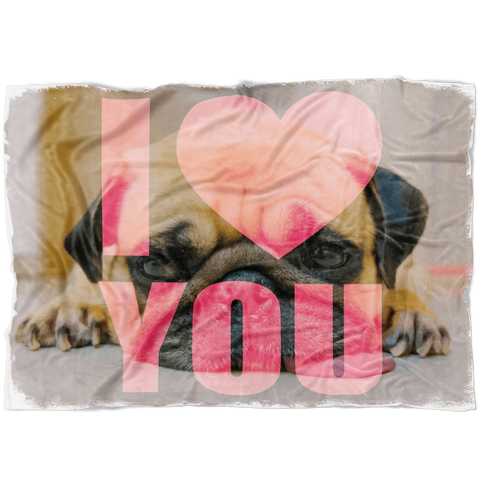 "teelaunch Blankets Small Fleece Blanket (40""x30"") I Love You Pug Fleece Blanket"