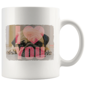 teelaunch Drinkware I Love You Pug Pug Loves You White Mug