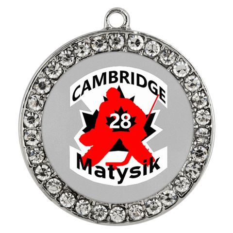 teelaunch Necklaces - Troupe #28 Matysik Cambridge Hockey Stone Coin Necklace