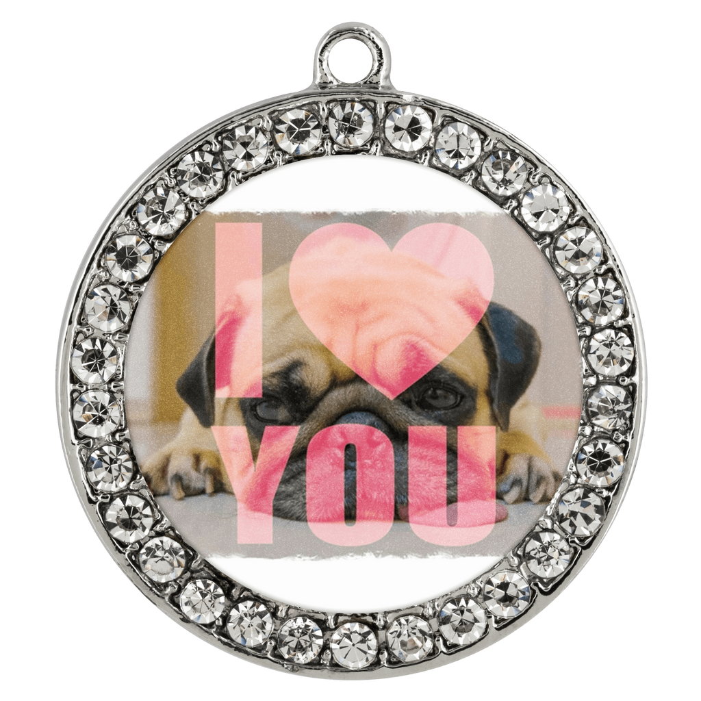 "teelaunch Necklaces - Troupe Necklace - Stone Coin / 16"" Pug Loves You Necklace"