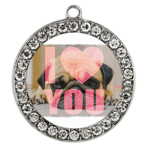 "Image of teelaunch Necklaces - Troupe Necklace - Stone Coin / 16"" Pug Loves You Necklace"