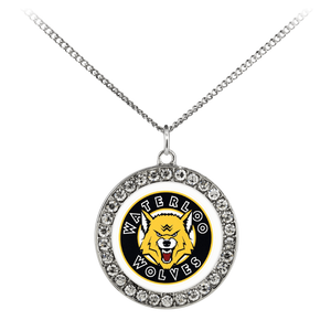 "teelaunch Necklaces - Troupe Necklace - Stone Coin / 16"" Waterloo Wolves sterling Silver Plated Necklace With An Elegant Pendant"