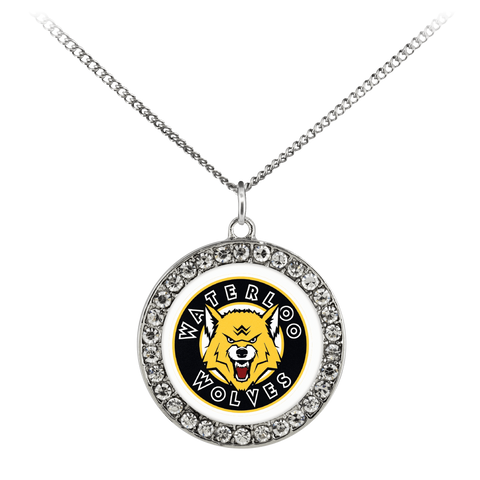 "Image of teelaunch Necklaces - Troupe Necklace - Stone Coin / 16"" Waterloo Wolves sterling Silver Plated Necklace With An Elegant Pendant"
