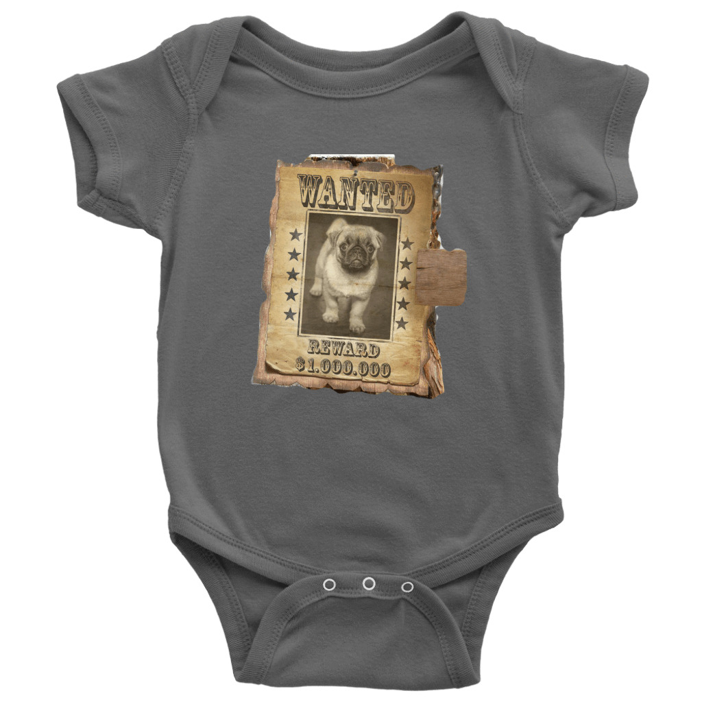 teelaunch T-shirt Baby Bodysuit / Asphalt / NB WANTED PUG - Bodysuit