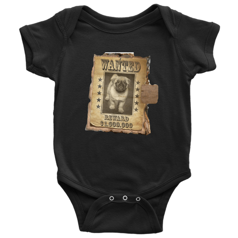 teelaunch T-shirt Baby Bodysuit / Black / NB WANTED PUG - Bodysuit