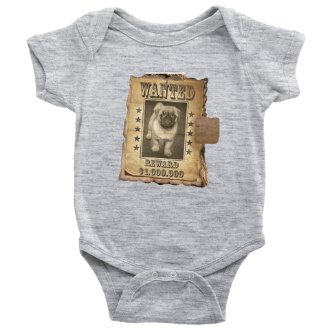 teelaunch T-shirt Baby Bodysuit / Heather Grey / NB WANTED PUG - Bodysuit