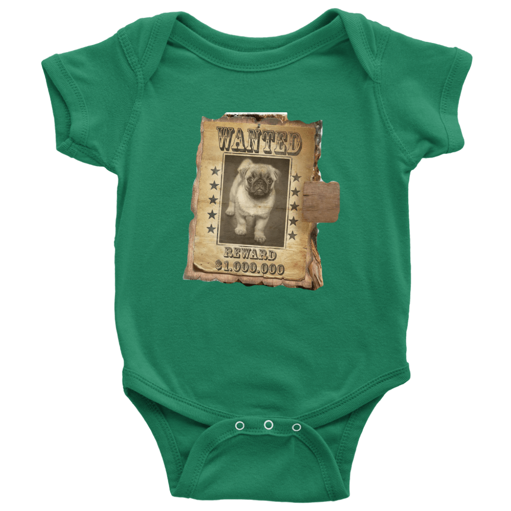 teelaunch T-shirt Baby Bodysuit / Kelly / NB WANTED PUG - Bodysuit