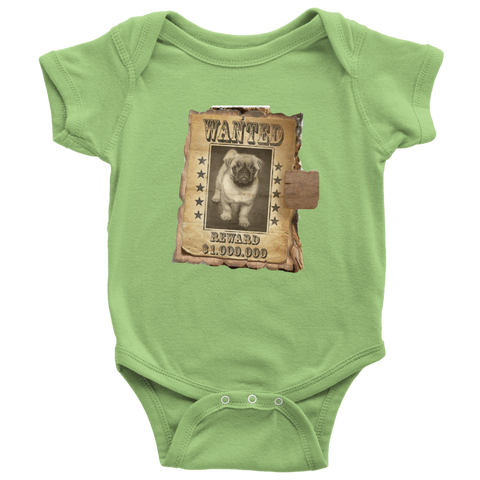 teelaunch T-shirt Baby Bodysuit / Keylime / NB WANTED PUG - Bodysuit