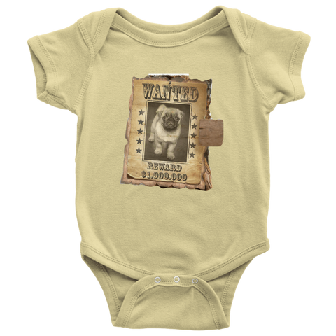 teelaunch T-shirt Baby Bodysuit / Lemon / NB WANTED PUG - Bodysuit