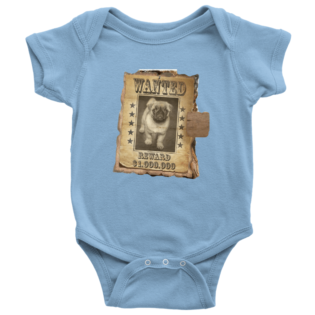 teelaunch T-shirt Baby Bodysuit / Light Blue / NB WANTED PUG - Bodysuit