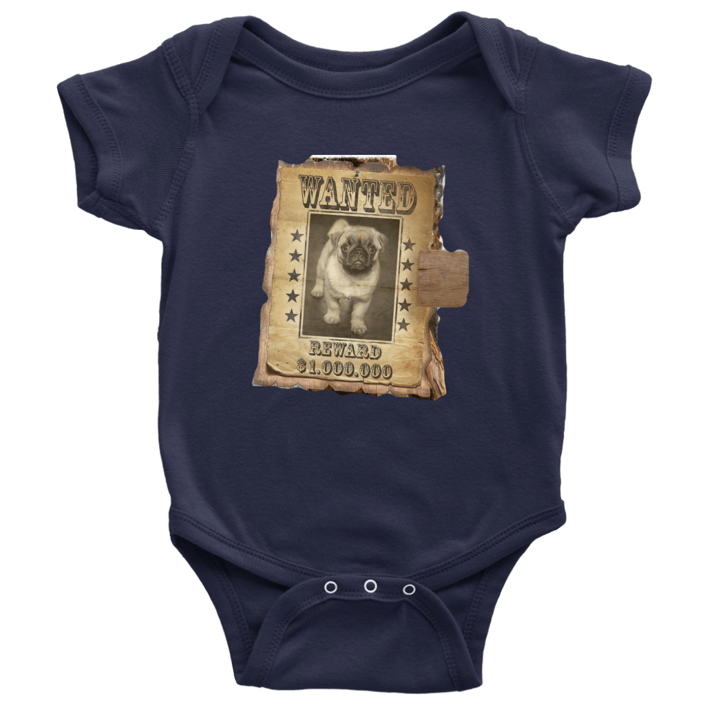 teelaunch T-shirt Baby Bodysuit / Navy / NB WANTED PUG - Bodysuit