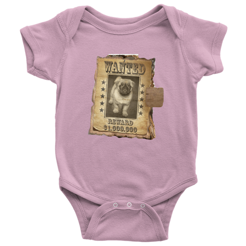 teelaunch T-shirt Baby Bodysuit / Pink / NB WANTED PUG - Bodysuit