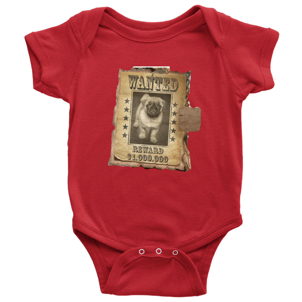 teelaunch T-shirt Baby Bodysuit / Red / NB WANTED PUG - Bodysuit
