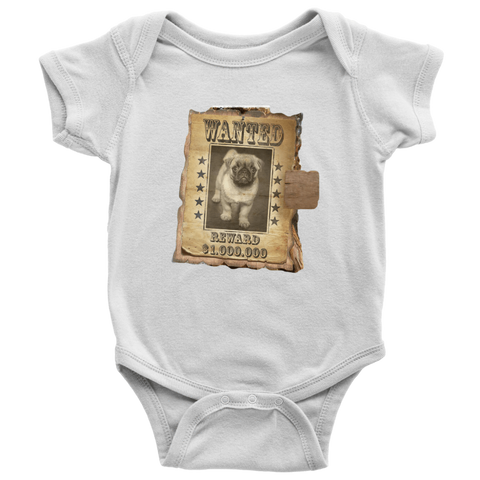 teelaunch T-shirt Baby Bodysuit / White / NB WANTED PUG - Bodysuit