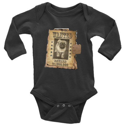 teelaunch T-shirt Long Sleeve Baby Bodysuit / Black / NB WANTED PUG - Long Sleeve Baby Bodysuit
