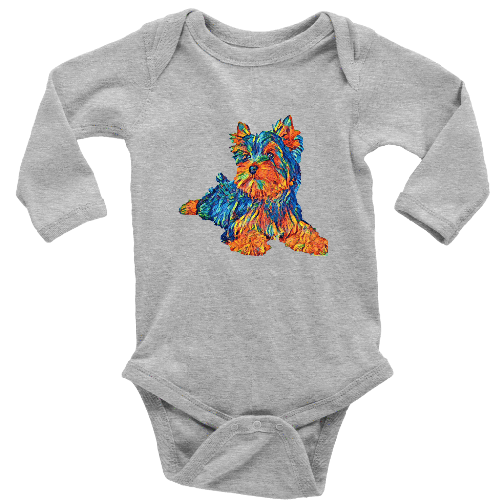 teelaunch T-shirt Long Sleeve Baby Bodysuit / Heather Grey / NB Multi - Color Shih tzu, baby bodysuit