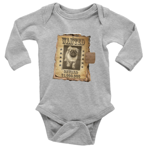 teelaunch T-shirt Long Sleeve Baby Bodysuit / Heather Grey / NB WANTED PUG - Long Sleeve Baby Bodysuit