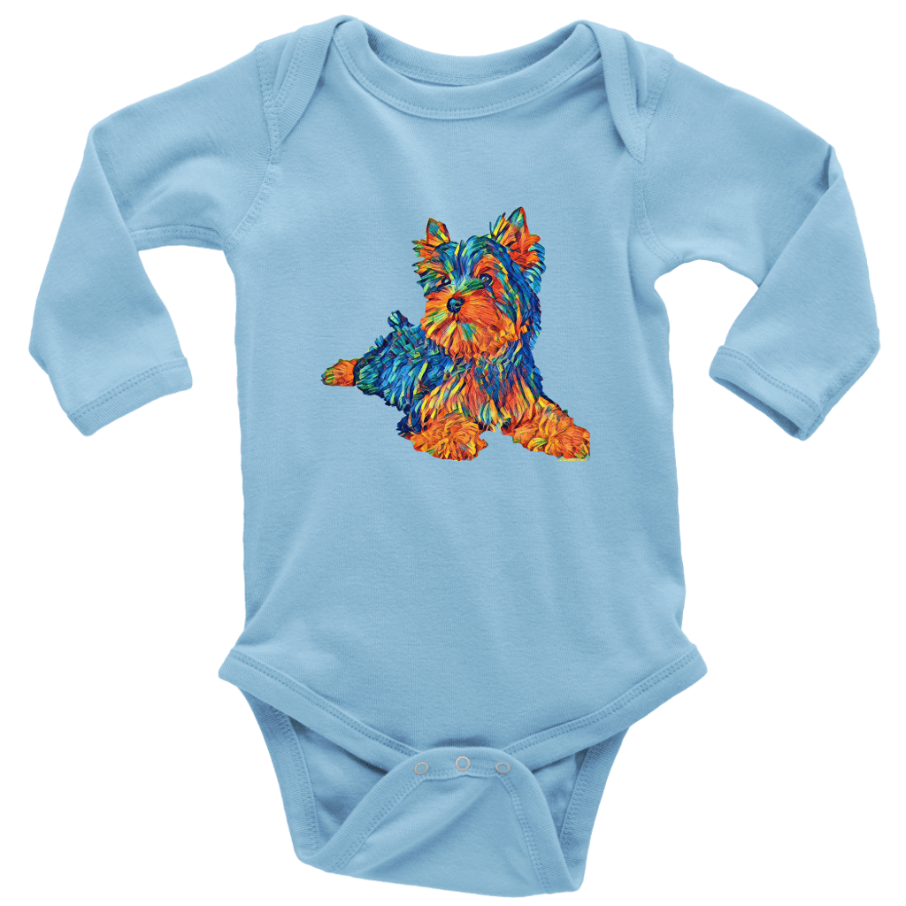 teelaunch T-shirt Long Sleeve Baby Bodysuit / Light Blue / NB Multi - Color Shih tzu, baby bodysuit