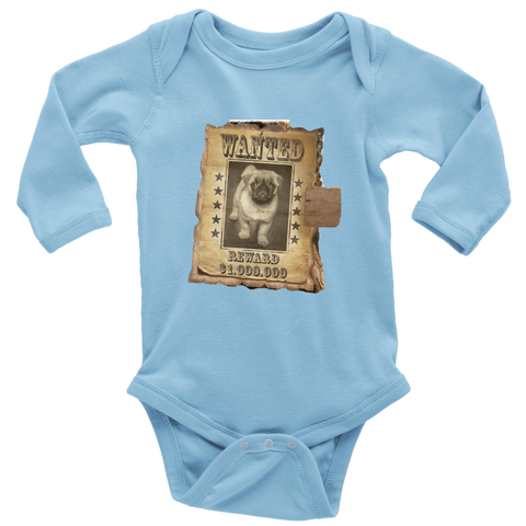 teelaunch T-shirt Long Sleeve Baby Bodysuit / Light Blue / NB WANTED PUG - Long Sleeve Baby Bodysuit