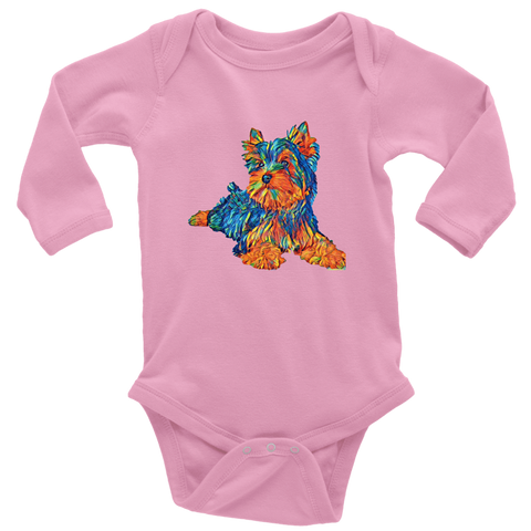 teelaunch T-shirt Long Sleeve Baby Bodysuit / Pink / NB Multi - Color Shih tzu, baby bodysuit