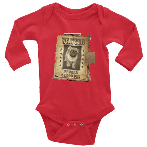 teelaunch T-shirt Long Sleeve Baby Bodysuit / Red / NB WANTED PUG - Long Sleeve Baby Bodysuit