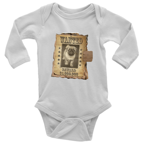 teelaunch T-shirt Long Sleeve Baby Bodysuit / White / NB WANTED PUG - Long Sleeve Baby Bodysuit