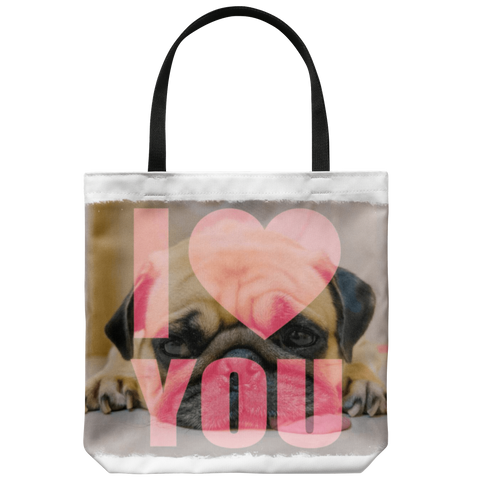 Image of teelaunch Tote Bags Black Bag Pug Loves You Tote Bag