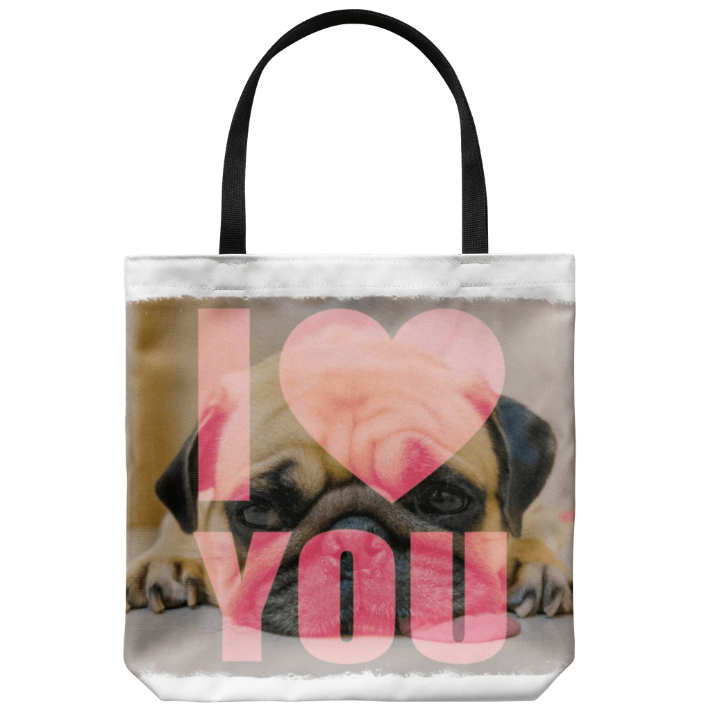 teelaunch Tote Bags Blue Bag Pug Loves You Tote Bag