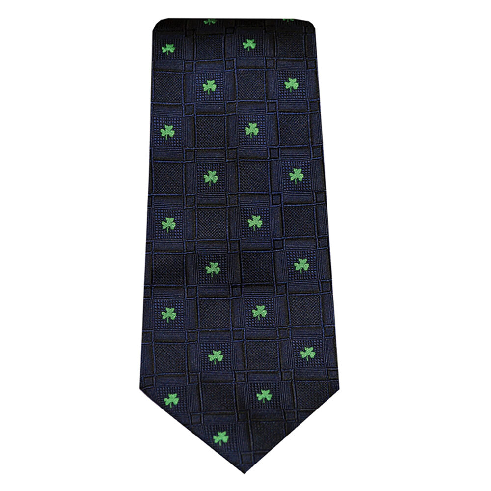 Navy with Green Shamrocks Silk Tie Patrick Francis Collection.